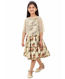 Tiny Baby Floral Print Cape Dress - Beige