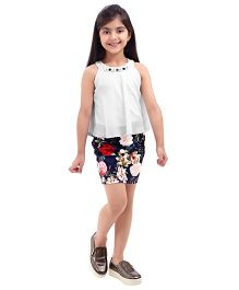Tiny Baby Classic Floral Print Top And Skirt Set - Off White