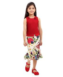 Tiny Baby Floral Print Skirt And Top Set - Red Off White