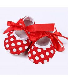Angel Closet Soft Booties Polka Dot Print - Red