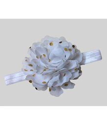 Angel Closet Floral Headband With Polka Dots - White