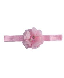 Angel Closet Floral Headband With Pearl Embellishment - Light Pink