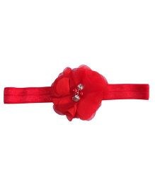 Angel Closet Floral Headband With Pearl Embellishment - Red