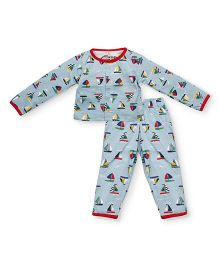 Earth Conscious Full Sleeves Organic Cotton Night Suit Ship Print - Sky Blue