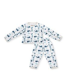 Earth Conscious Full Sleeves Organic Cotton Night Suit Whale Print - Off White Blue