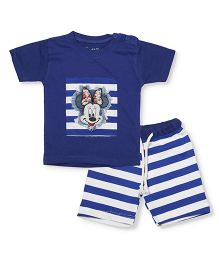 Earth Conscious Organic Cotton Half Sleeves Top And Stripe Shorts Minnie Mouse Patch - Royal Blue White