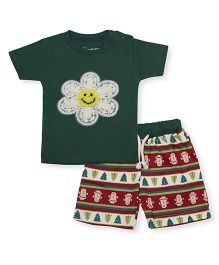 Earth Conscious Organic Cotton Half Sleeves Top And Shorts Flower Print - Green Red