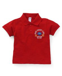 Zero Half Sleeves Polo Neck T-Shirt Baby Rugby Print - Red