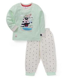 Ollypop Full Sleeves T-Shirt And Lounge Pant Ship Print - Light Green