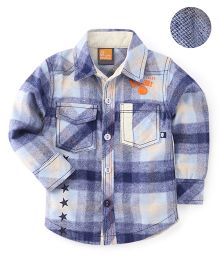 Little Kangaroos Full Sleeves Checks Shirt - Blue