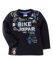 Little Kangaroos Full Sleeves T-Shirt Bike Repair Print - Black