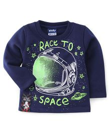 Little Kangaroos Full Sleeves T-Shirt Race To Space Print - Blue