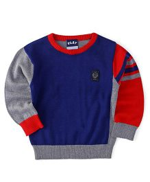 Little Kangaroos Full Sleeves Pullover Sweater - Blue & Grey