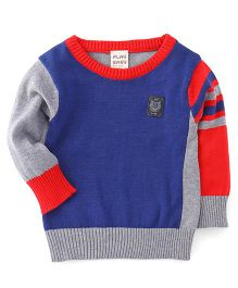 Little Kangaroos Full Sleeves Pullover Sweater - Light Blue & Grey