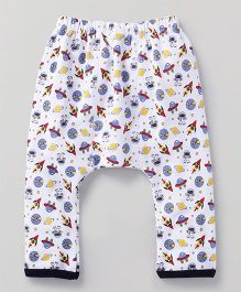 Babyhug Full Length Diaper Legging Spacecraft Print - White & Multicolor