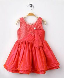 Eiora Sleeveless Party Wear Dress With Attached Bow - Peachish Pink