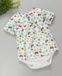 Babyhug Half Sleeves Onesie Butterfly Print - Multi Color
