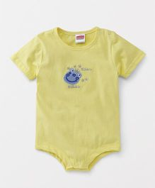 Babyhug Short Sleeves Onesie Animal Embroidery - Yellow