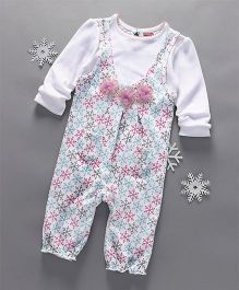 Babyhug Full Sleeves Romper With Floral Applique - White & Blue & Pink