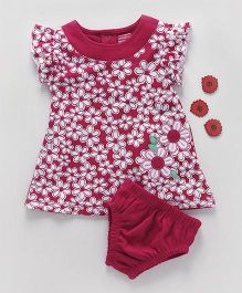 Babyhug Short Sleeves Frock With Bloomer - Pink