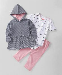 Babyhug Full Sleeves Hooded Frock & Lounge Pant With Onesies Pack of 3 - White Pink Navy Blue
