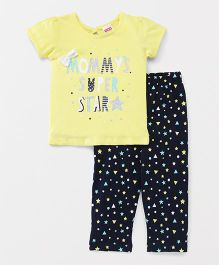 Babyhug Half Sleeves Night Suit Super Star Design - Yellow & Black