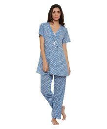Clovia Half Sleeves Maternity Floral Print Top & Pajama Set - Blue