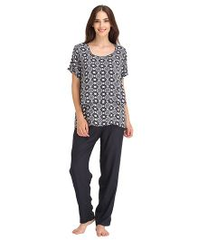 Clovia Printed Top & Pajama Maternity Nursing Set - Blue