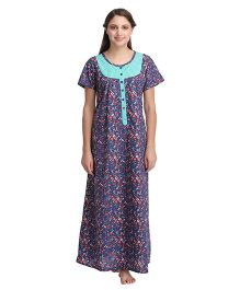 Clovia Half Sleeves Maternity Nursing Nighty Floral Print - Blue