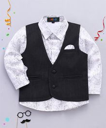 Robo Fry Full Sleeves Printed Shirt And Waistcoat - White & Black