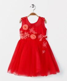Katibi Party Wear Dress With Floral Embellishment - Red