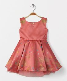 Katibi Party Wear Dress With Butterfly Design - Peach
