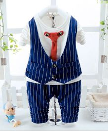 Pre Order - Wonderland Stripe Design Tee Attached Waistcoat & Tie With Pant - Navy Blue