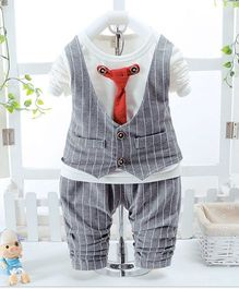 Pre Order - Wonderland Stripe Design Tee Attached Waistcoat & Tie With Pant - Grey