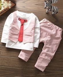 Pre Order - Wonderland Self Stripe Design Tee Attached Waistcoat & Tie With Pant - Pink