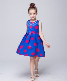 Pre Order - Wonderland Dot Print Dress Attached With Necklace - Blue