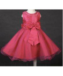 Pre Order - Wonderland Stylish Dress With Bow Applique - Hot Pink