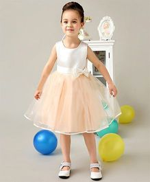 Pre Order - Wonderland Fit & Flare Dress With Back Bow Design - Peach