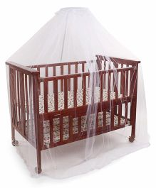 Mee Mee Wooden Cradle With Mattress Dotted Print - Brown Multi Color