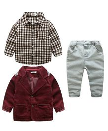 Pre Order - Lil Mantra Checkered Shirt Pant & Coat Set - Red & Grey