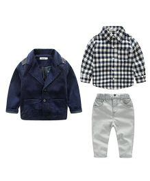 Pre Order - Lil Mantra Checkered Shirt Pant & Coat Set - Blue & Grey