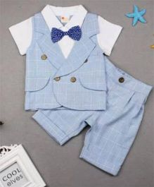 Pre Order - Lil Mantra Checkered Coat & Pants Set With Dotted Bow tie - Blue