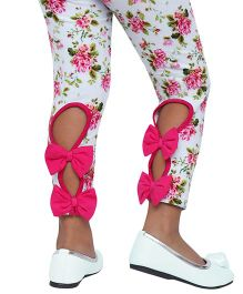 D'Chica I Am So Chic Pastel Print Leggings For Girls With Back Bows - Multicolor