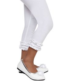 D'Chica Classic Fashion Bottom Frill Leggings - White