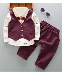 Pre Order - Dells World Moustache Shirt With Bow Tie & Jacket With Pant - White & Purple