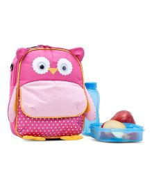Yodo Playful Kids Owl Face Lunch Box Carry Bag And Backpack - Pink
