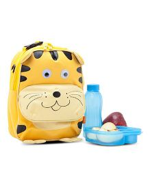 Yodo Playful Kids Tiger Face Lunch Box Carry Bag And Backpack - Yellow