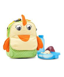 Yodo Playful Kids Bird Face Lunch Box Carry Bag And Backpack - Yellow & Green