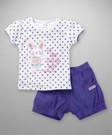 ToffyHouse Short Sleeves Top & Shorts Dots Print - White & Purple