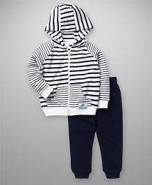 ToffyHouse Full Sleeves Hooded Stripe T-Shirt And Lounge Pants - White & Navy